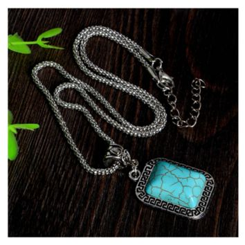 European New Fashion Turquoise Simple Infinity Women Alloy Necklace