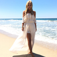 Bayshore Off Shoulder Romper Maxi In Cream