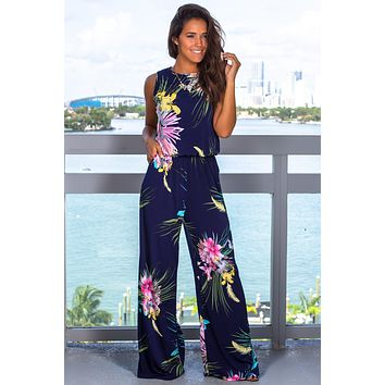 Navy Printed Jumpsuit