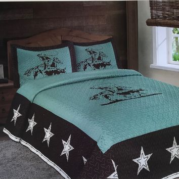 Texas Style Rustic Rodeo Cowboy Star Western Quilt Bedspread - 3 Piece Set
