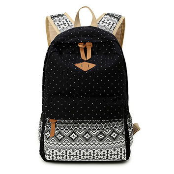 Korean Canvas Printing Backpack Women School Bags for Teenage Girls Cute Bookbags Vintage Laptop Backpacks Female