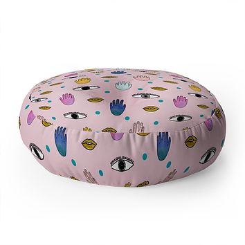Hello Sayang Eyes Hands Lips Dots Floor Pillow Round