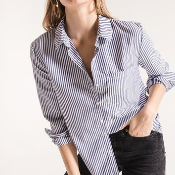 Palma Striped Button-up Top