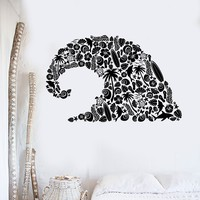Vinyl Wall Decal Wave Marine Animals Dolphin Bathroom Beach Decor Stickers Unique Gift (ig3025)
