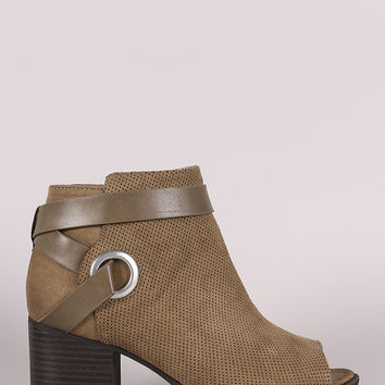 Qupid Perforated Strappy Block Heeled Ankle Boots