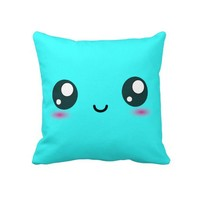 Cute Kawaii Smiley Cushion - Bright Cyan Blue Throw Pillows from Zazzle.com