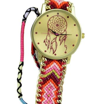 Pink Gradient Dream Catcher Friendship Bracelet Watch