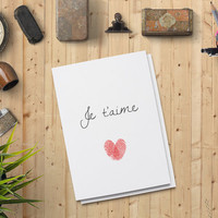 """Valentine's Day Card for him, Je t'aime Card for him, Digital Print Printable Card 5""""x7"""" Instant Download - Digital Print"""