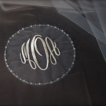 Circle Monogram Wedding Veil with crystal beaded border frame