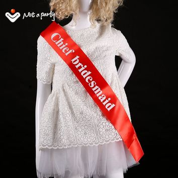 12pcs of red satin sash white chief bridesmaid wedding event bachelorette ribbon bridal hen night  favor party event supplies