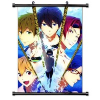 "1 X Free! Iwatobi Swim Club Anime Fabric Wall Scroll Poster (16"" x 23"") Inches"