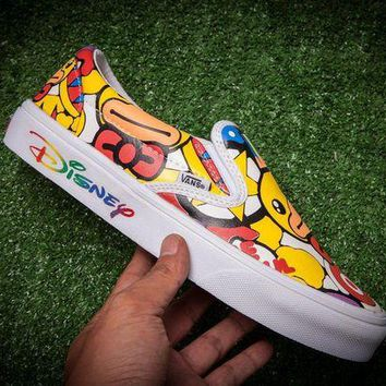 LMFONS Vans & Dunk Yellow Duck Logo Slip On Flats Shoes Sneakers Sport Shoes