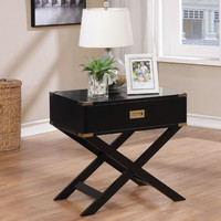 Furniture of america CM-AC801BK Goodyear black finish wood chair side table with drawer