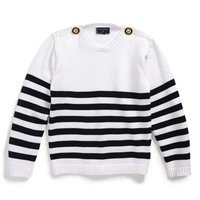 Girl's Oscar de la Renta Nautical Stripe Sweater