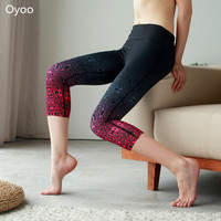 Oyoo 2017 Spring Flame Printed Yoga Capri Cute Sportwear Workout Leggings High Waist Performance Activewear Running Gym Clothes