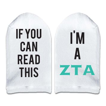 If You Can Read This... I'm A Zeta Tau Alpha Sorority Women's No Show Socks Printed with Text on Sole