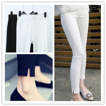 Stretchable Skinny Pants With Slit