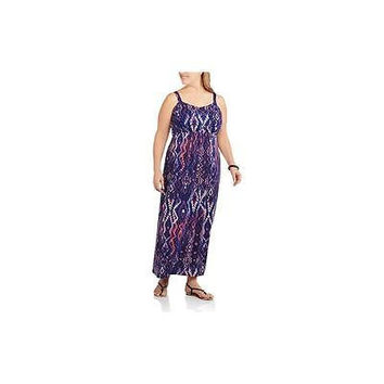 Faded Glory Women's Plus Smock Back Maxi Dress, Purple Print, 1X