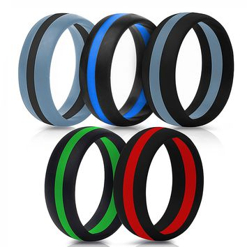 Silicone Ring Perfect Gift for Father's and Mother's Day, Wedding Silicone Ring Band Men Rubber Women 1 Gym Crossfit Pcs Sport Outdoor Flexible Modern Rings / Design Silicone Rubber Bands(5 color, 10)