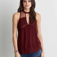 AEO Lace Mix Shell Top , Burgundy