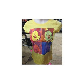 Juniors Mickey Mouse Graphic Tee, Yellow, Small (3-5) Disney