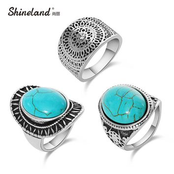 ShinelanVintage Punk Ring Sets Fashion Designer Antique Silver Unique Carving Nature Blue Stone 3pcs Midi finger Rings For Women