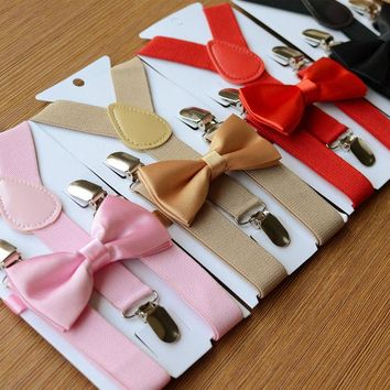 HOT Fashion Adjustable and Elasticated Kids Suspenders With Bowtie Bow Tie Set Matching Ties Outfits For Girl Boys Clothes