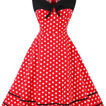 Atomic Red and White Sleeveless Dotted Dress