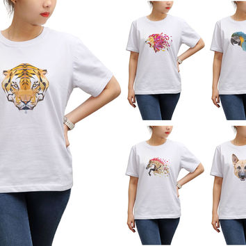 Women Animals in geometric pattern style Printed T-shirt WTS_17