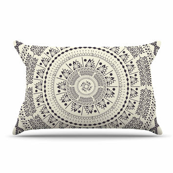 "Famenxt ""Swadesi Soft Boho Mandala"" Beige Illustration Pillow Case"