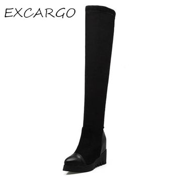 Women's Boots High Boot Wedge Heel Platform Black Color Girl Shoes Winter Boot Thigh High Boots For Women Lady Warm Shoes