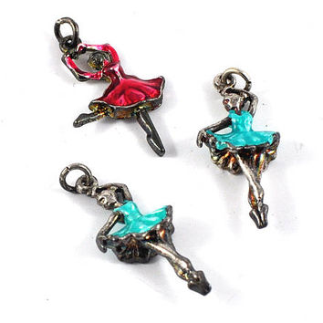 Ballerina Metal Charm - Pink or Blue -  jewellery making, sewing, dance gift, Gift Wrapping, dancer charm - Dancing Gift by DeeDeeSupplies