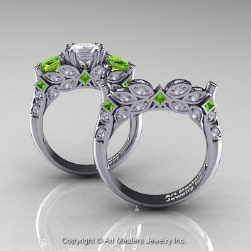 Classic 14K White Gold Three Stone Princess White Sapphire Peridot Diamond Solitaire Engagement Ring Wedding Band Set R500S-14KWGDPEWS