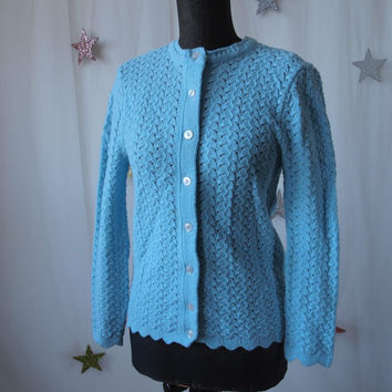 Vintage Robin's Egg Blue 60's Knit Cardigan Cableknit Button Front Sweater and Scalloped Edge Size Small/ Medium Wintuk