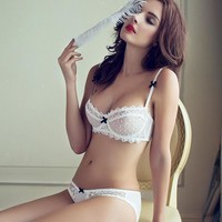 Hot Deal Cute On Sale Hollow Out Transparent Sexy Cup Ladies Bra Set Exotic Lingerie [6596639811]