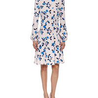 Oscar de la Renta Floral-Print Long-Sleeve Dress, Soft Pink