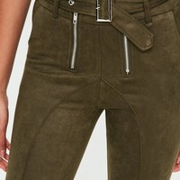Missguided - Khaki Buckle Waist Double Zip Suedette Skinny Pants
