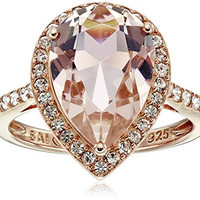 Pink Gold Plated Sterling Silver Vintage Rose Crystal and Clear Crystal Pear Shape Ring, Size 8