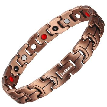 Hottime 4 in 1 Bio Elements Energy Magnetic Bracelet Red Copper Arthritis Therapy Health Men's Bracelets Fashion Jewelry 10211