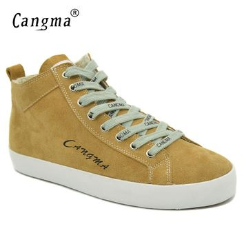 CANGMA Marque Women's Footwear Yellow Cow Suede Genuine Leather Sneakers For Girls High Quality Casual Shoes Mid Flats Female