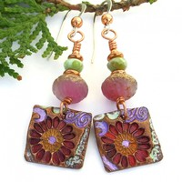 Colorful Red Flower Copper Handmade Earrings, Lavender Pink Green Spring Summer Jewelry