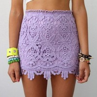 LILAC FLORAL SCALLOPED HEM CROCHETED LACE HIGH WAISTED MINI TUBE SKIRT 6 8 10 12
