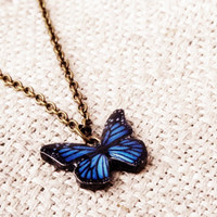 Blue butterfly necklace, Blue butterfly, Necklace, Blue necklace, Blue pendant, Wing necklace, Insect, Bug, Bug jewelry, Butterfly jewelry