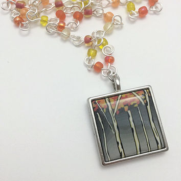 Birch Tree Scene Pendant Necklace, Fall Art Jewelry, Gray and Orange