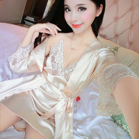2017Summer Two Pieces Sets Elegant Womens Silk Satin Nightgowns&Sleepshirts Solid Sleepwear Mujer Robe Lady Sexy Lace Nightdress