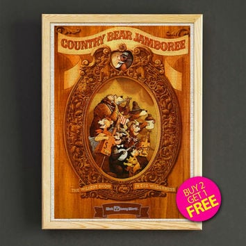 Vintage Disneyland Attraction Poster Reprint Country Bear Jamboree Print Home Wall Decor Gift Linen Print - Buy 2 Get 1 FREE - 369s2g