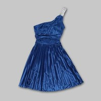 Speechless- -Junior's Dress Pleated Silky One Shoulder – Blue Vodka-Clothing-Juniors-Dresses