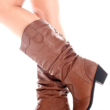 BROWN FAUX LEATHER MID-CALF WESTERN RUCHED BOOTS