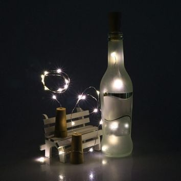 High Quality Solar Wine Bottle Cork Shaped String Light 10 LED Night Fairy Light Lamp Xmas party wedding Christmas Holiday nt0