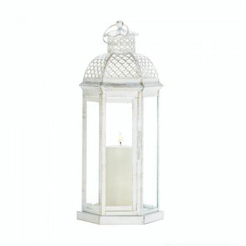 Large White Moroccan Lattice Lantern